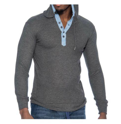 9 Crowns Men/'s Lightweight Hooded Henley Long Sleeve Shirt