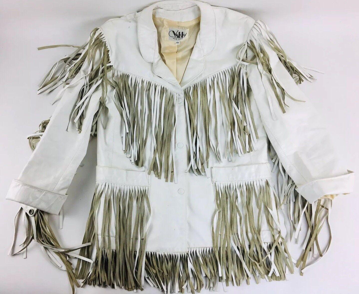 Vintage White Leather Jacket Vakko Leather Fringe… - image 1