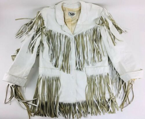 Vintage White Leather Jacket Vakko Leather Fringed