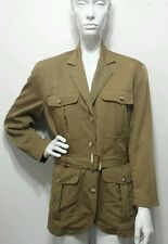 Vtg Banana Republic Safari & Travel Clothing Co. Green Military Jacket Belted M