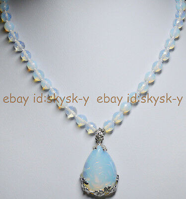 8mm Faceted SriLanka Moonstone Gems Round Beads White Pendant Necklace 18""