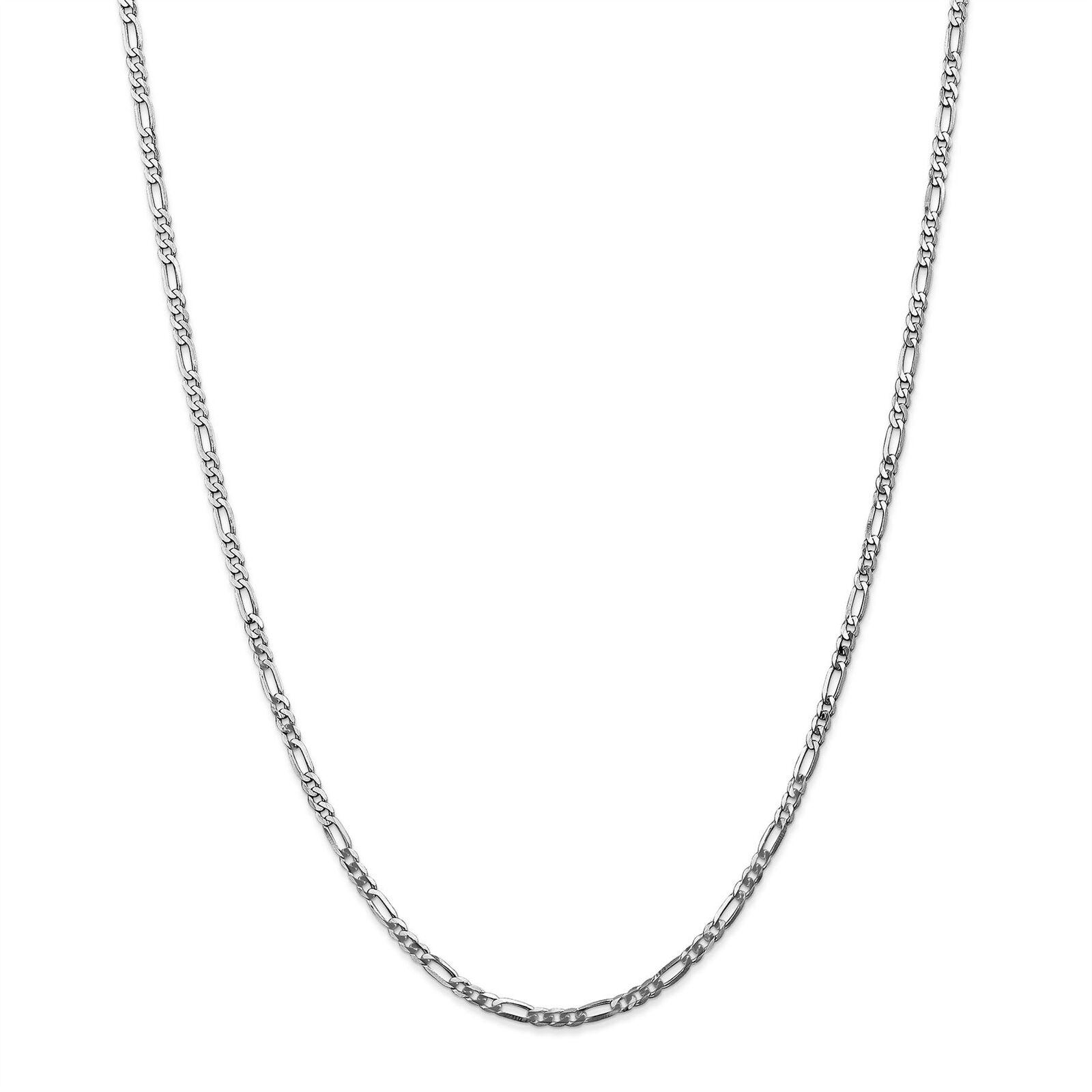 14K White gold 2.75 MM Flat Figaro Link Bracelet, 7  MSRP  314