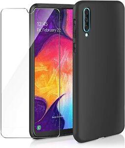 Pour SAMSUNG Galaxy A50 Coque Gel Silicone Arrière NOIR +1 Verre trempé