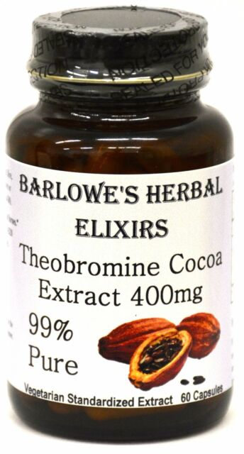 THEOBROMINE 99 CACAO BEAN EXTRACT Stearate Free Bottled In Glass VegiCaps