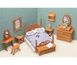 Greenleaf Dollhouse Furniture Set 6 Room Kit Miniature Kitchen Bathroom Library