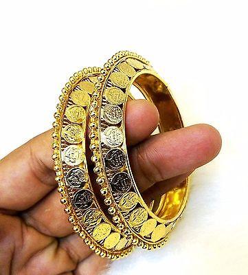 Latest Ethnic Indian Designer 18K Gold Plated Laxmi Coin Brand New 2p Bangle set