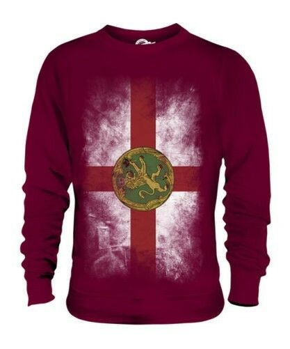 ALDERNEY FADED FLAG UNISEX SWEATER TOP FOOTBALL GIFT SHIRT CLOTHING JERSEY