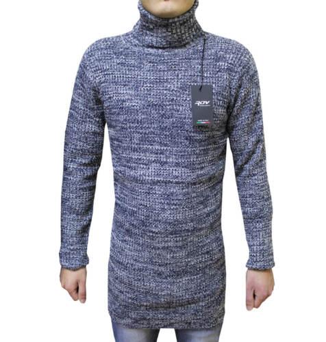 Maglione Uomo Collo Alto Dolcevita Lungo Lana Cardigan Invernale M L XL XXL RDV