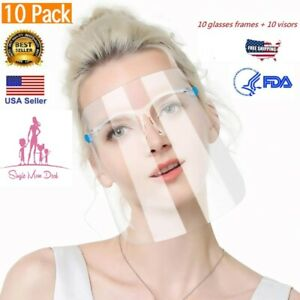 10-PACK-Face-Shield-Guard-Mask-Safety-Protection-With-Glasses-Reusable-Shields