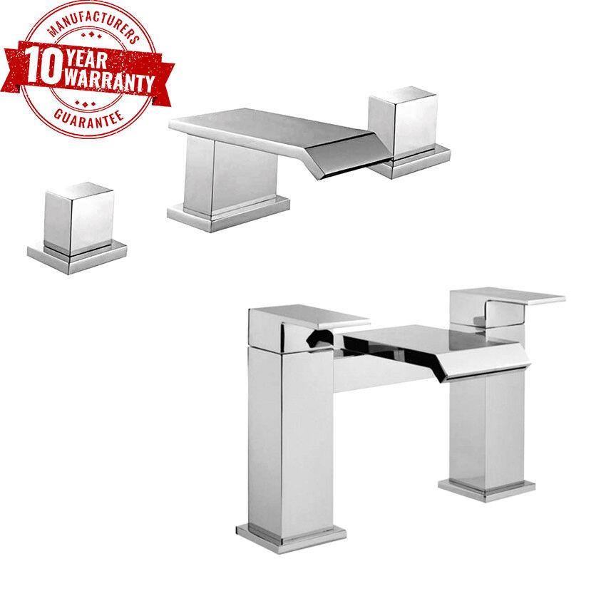Cascada cuadrado de lujo moderno 3 orificios para lavabo Tap & Baño Relleno Set  q