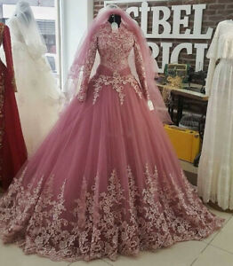 Muslim-High-Neck-Wedding-Dresses-Bridal-Gowns-Pink-White-Ivory-Lace-Long-Sleeve