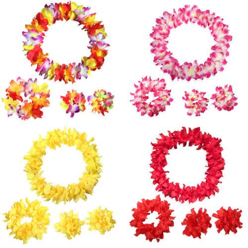 AM /_ 4 PC//insieme Vivida Stoffa Hawaii Fiore Ghirlanda Corona Testa Collo decorazione a mano