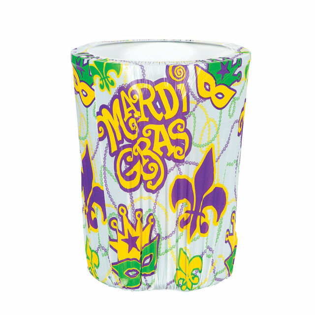 MARDI GRAS Fat Tuesday Party Decoration Plastic Garbage TRASH CAN COVER