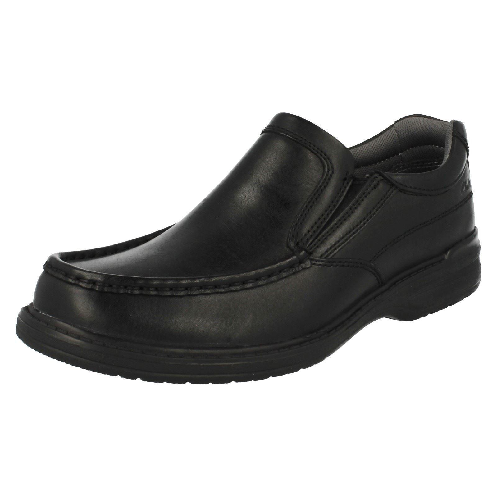 Homme Clarks Keeler étape Cuir Noir Décontracté à Enfiler Chaussures