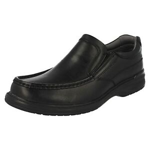 Uomo-Clarks-KEELER-Step-nero-pelle-scarpe-casual-SLIP-ON