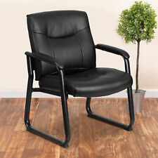 Big Amp Tall 500 Lb Rated Black Leathersoft Executive Reception Chair Sled Base