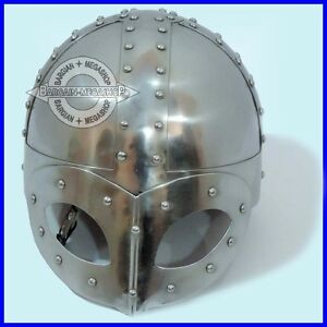 Viking Mask Helmet , re-enactment larp role-play fancy-dress w/ Inner Liner
