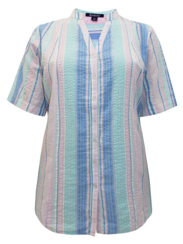 ROAMANS PURE COTTON PINK SEERSUCKER SHIRT//BLOUSE SIZE 14-30 ONLY  FREE P/&P