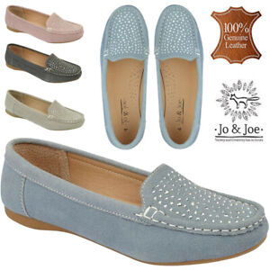 Ladies-100-Leather-Jo-amp-Joe-Navy-Slip-On-Flat-Moccasin-Loafer-Pumps-Shoes-Sizes