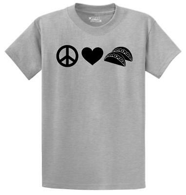 Mens Peace Love Tacos Tshirt Funny Food Tee For Guys