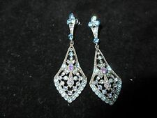 Chandelier Sky Blue Rhinestone Crystal Dangle Earrings Silver Tone Aurora Shiny