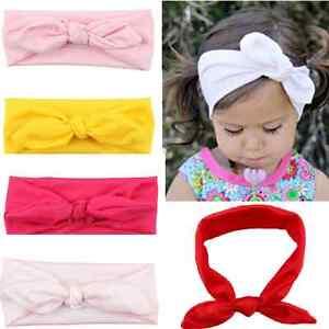 Haarband-Baby-Maedchen-Haarschmuck-Stirnband-Knoten-Elastisch-Hasenohren-Kopfband