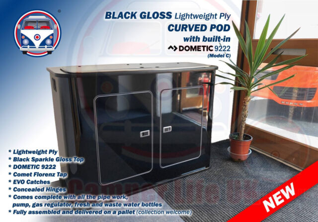 Removable Day Van Camper BLACK Gloss Lightweight Kitchen Curve Pod Unit  SMEV9222