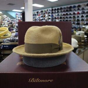 2574f8634 Details about BILTMORE HAMILTON CAMEL LONG HAIR FUR FELT FEDORA DRESS HAT
