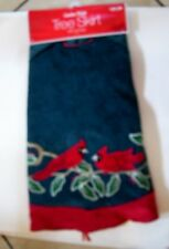 48 IN GREEN AND RED CARDINAL & HOLLY LINED TREE SKIRT CHRISTMAS DECORATION
