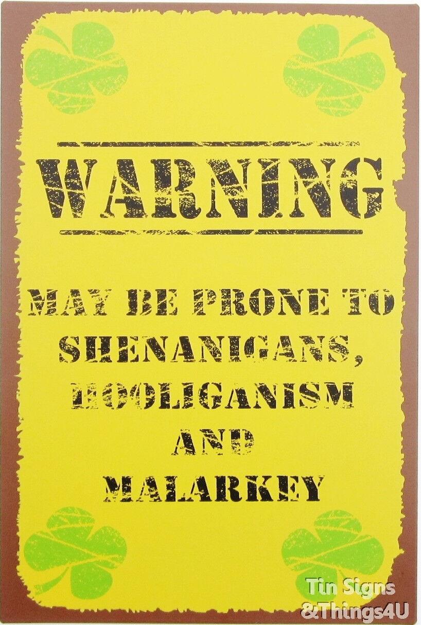 Irish Warning rustic TIN SIGN shenanigan bar pub metal wall decor ...