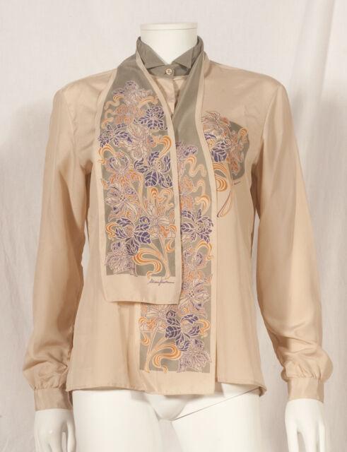 Années 70 vintage imprimé fleuri Soirée Chemise avec Cravate UK 12/14
