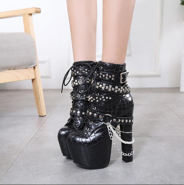 Gótico Negro botas de Moda para Mujer Correa Hebilla De De De Cadena Remache Punk Bombas Tacones Altos  comprar mejor