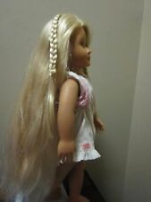 "Battat Doll Blonde Hair Long Growing Braids 17"" Tall White Dress & Vest"
