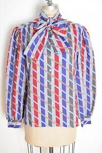 Vintage 60s Secretary Blouse MOD Blouse Abstract Print Blouse 70s Tie Neck Blouse PUSSY BOW Blouse Retro Shirt Top Geometric Stripe Sheer