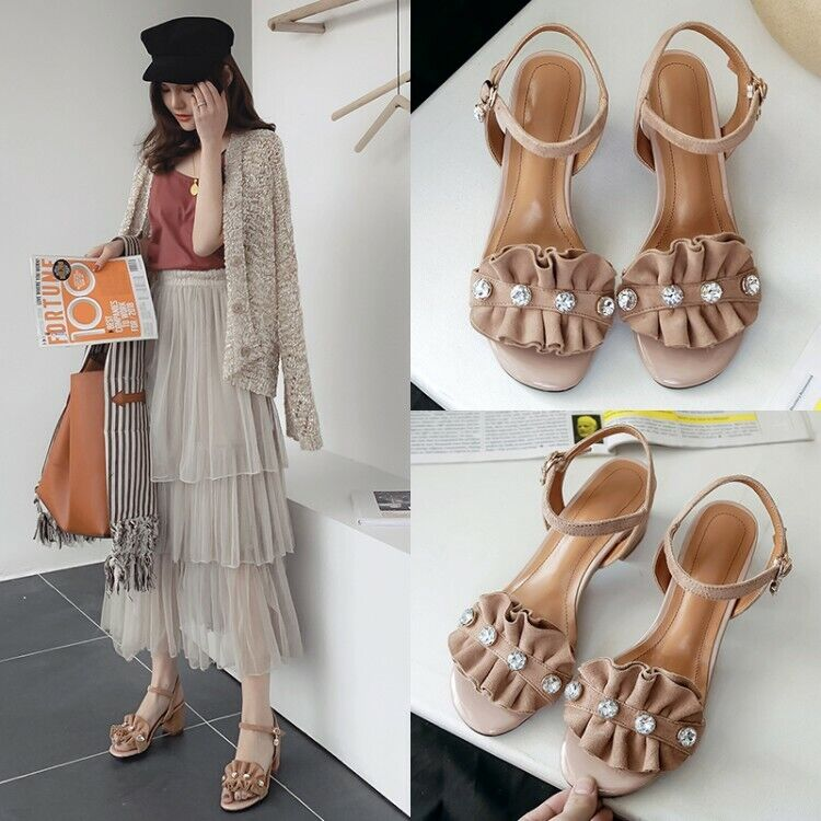 Women's Slingbacks Sandals Suede Chunky Heels Open Toe Casual Ankle Buckle shoes