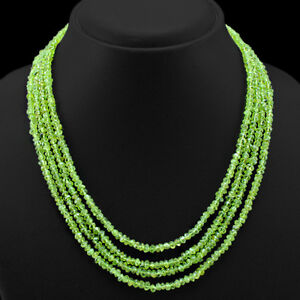 OUTSTANDING-QUALITY-244-50-CTS-NATURAL-4-LINE-GREEN-PERIDOT-BEADS-NECKLACE-DG