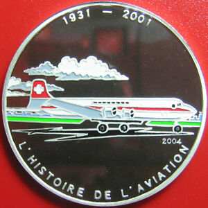 2004-BENIN-1000-FRANCS-SILVER-PROOF-MULTICOLORED-DOUGLAS-DC-4-PLANE-AVIATION