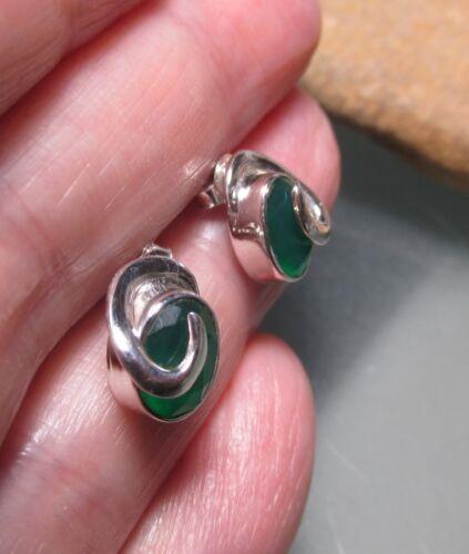 Gift bag. 925 sterling silver cute cut green onyx stud earrings