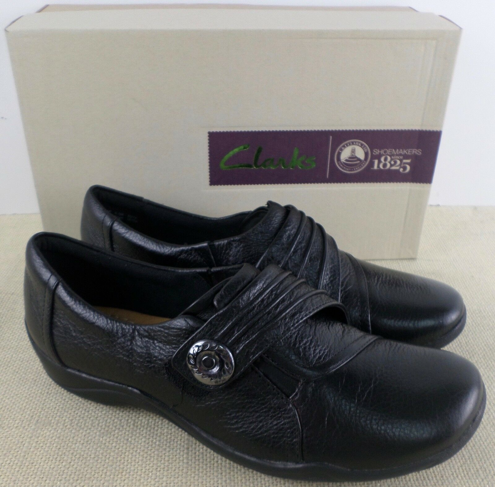 CLARKS 02319 KESSA ALCOVE ON WOMEN'S BLACK LEATHER SLIP ON ALCOVE Schuhe NEW IN BOX 6faedd