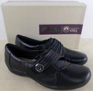CLARKS 02319 KESSA KESSA 02319 ALCOVE WOMEN'S BLACK LEATHER SLIP ON Schuhe NEW IN ... 2817e7