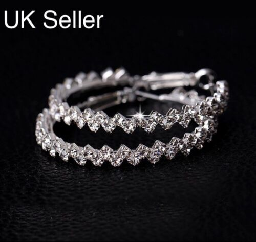 Sparkling Sterling Silver Plated Austrian Crystal Hoop Round Earrings Jewelry UK