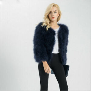 64df6ab98e0 New Hot 100% Real Ostrich Fur Feather Short Coat Jacket Fluffy Soft ...