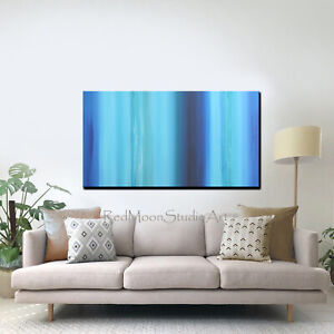 48x24-Abstract-Art-Painting-Blue-Turquoise-Beach-Coastal-US-Artist