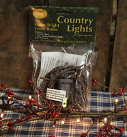50 Count Teeny Rice Lights Strand Clear - Brown Cord Country - Rustic