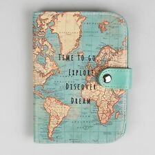 Sass & Belle Vintage Time To Go World Map Atlas UK Passport Cover Holder Gift