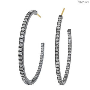 925-Sterling-Silver-Diamond-Pave-Hoop-Style-Earrings-14K-Gold-Handmade-Jewelry