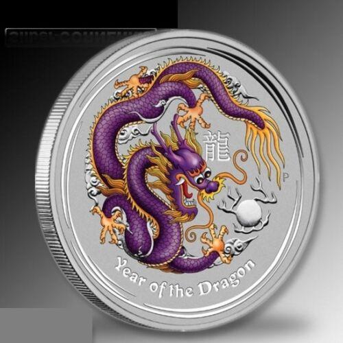 Australia $1 Dollar 2012 Purple Coloured Colourised Dragon 1 oz .999 Silver Coin