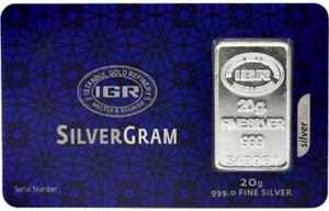 1-X-20-gram-Fine-Silver-Bullion-Bar-999-Istanbul-Gold-Refinery-certificated