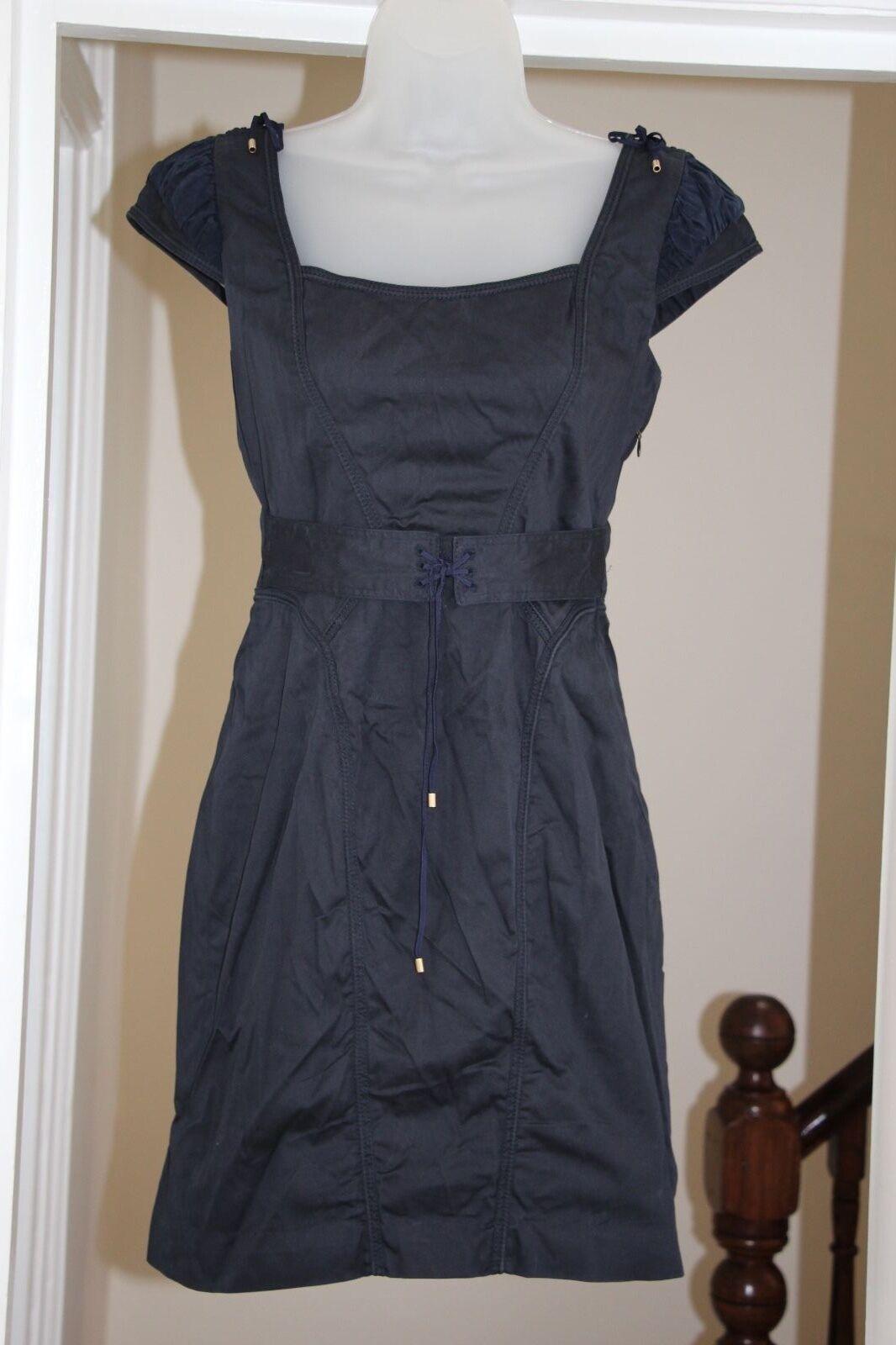 Zac Posen Dress 10 Cotone Maniche ad Aletta Blu Scuro Aderente Bodycon Matita abito Piccolo S