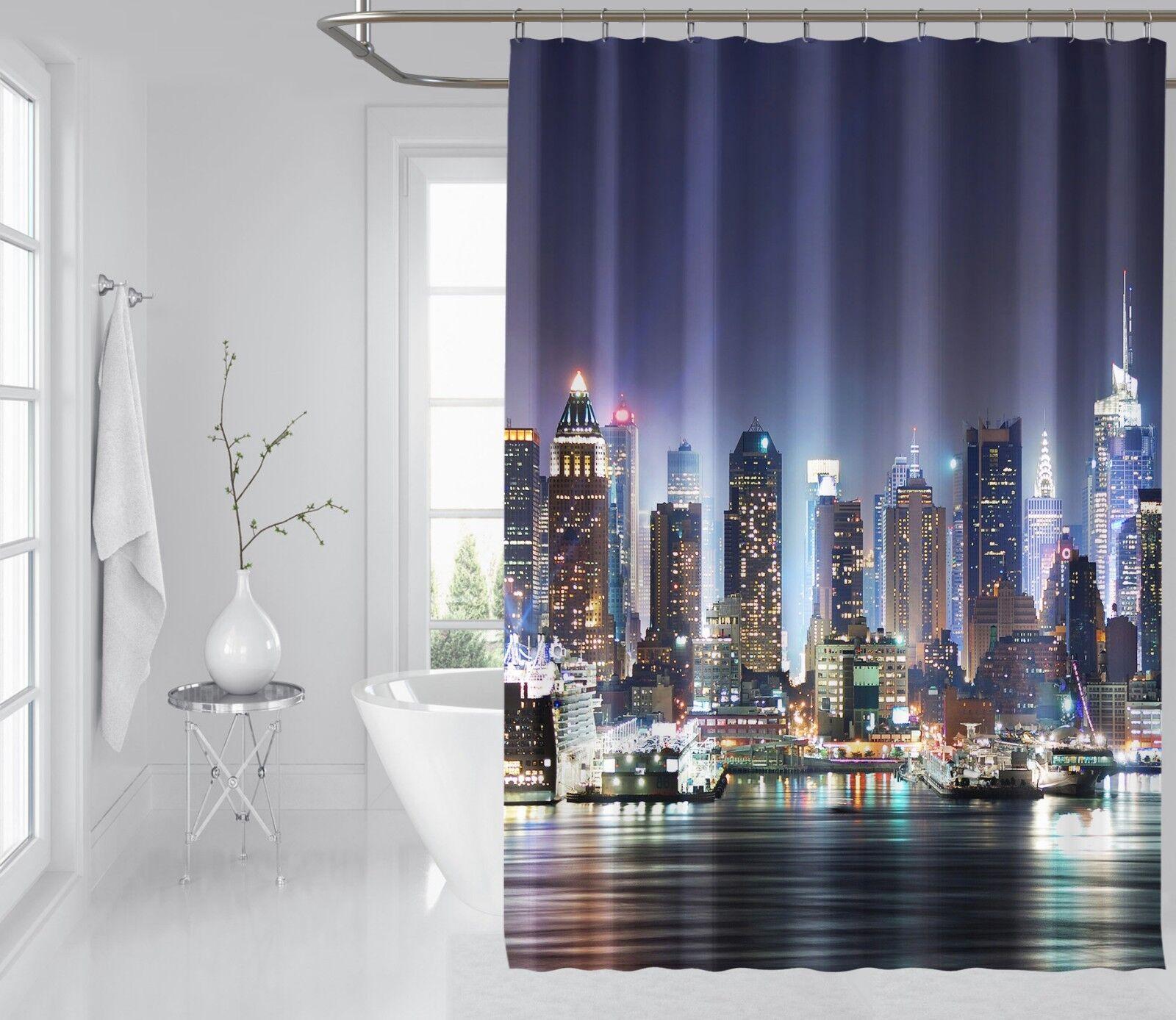 3D City Night View 8 Shower Curtain Waterproof Fiber Bathroom Windows Toilet Ea0e81